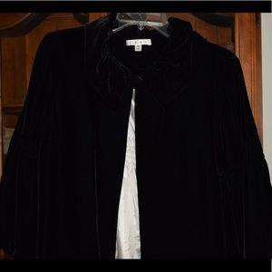 Cabi black velvet holiday coat